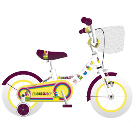 """Neuzer Cupcake 12""""-os gyerekkerékpár, kontrafékes, kosárral, sárvédővel,  fehér"""