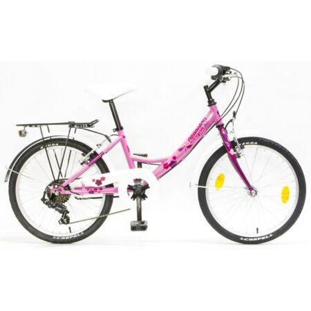 """Csepel Flora 20"""" lányka gyermek kerékpár, 6 fokozatú váltó, szitakötős, rózsaszín/ciklámen"""