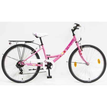 """Csepel Flora 24""""-os gyerek kerékpár, lány, 6 seb. Shimano váltó, rózsaszín, pillangós"""