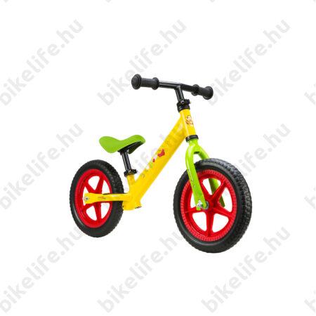 Kerékpár Hajtány Micimackó sárga, fémvázas tömör kerekű