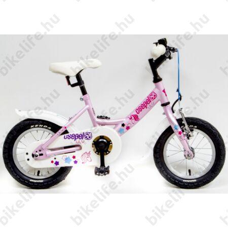 """Csepel Lily 12""""-os lányka gyerek kerékpár kontrafékes unikornisos, pink"""