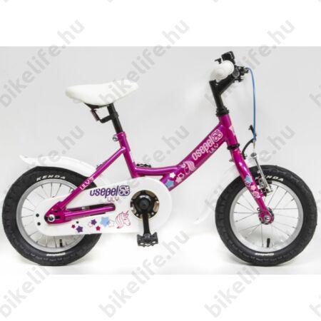 """Csepel Lily 12""""-os lányka gyerek kerékpár kontrafékes unikornisos, ciklámen"""