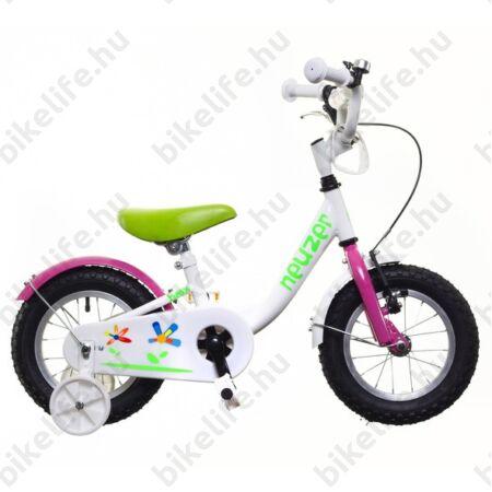 """Neuzer BMX 12""""-os lány gyerekkerékpár, kontrafékes, sárvédővel, fehér/rózsaszín-zöld"""