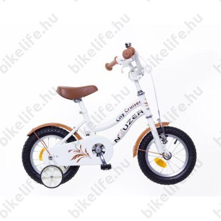 """Neuzer Cruiser 12""""-os gyerek kerékpár, lányka, kontrás, fehér-fekete"""