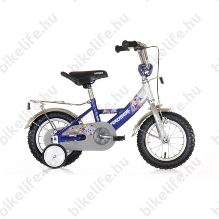 """Hauser Swan 12""""-os gyerekkerékpár kontrafékes, sárvédővel, láncvédővel és csomagtartóval, ezüst/kék"""