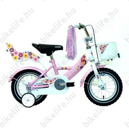 """Hauser Swan 12""""-os gyerekkerékpár kontrafékes, sárvédővel, kosárral és babahordóval, fehér/rózsaszín"""