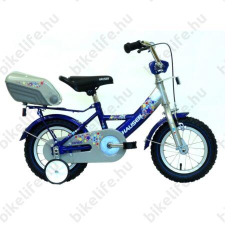 """Hauser Swan 12""""-os gyerekkerékpár kontrafékes, sárvédővel, tároló dobozzal, ezüst/kék"""