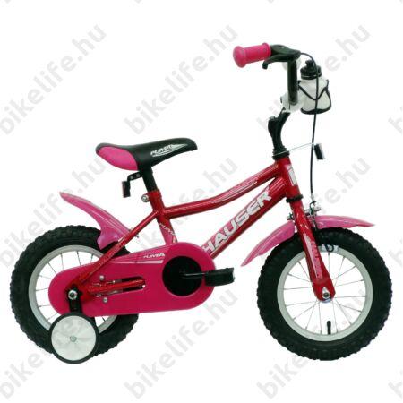 """Hauser Puma 12""""-os gyerekkerékpár, kontrás, sötétrózsaszín (pink)"""