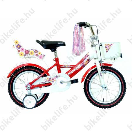 """Hauser Swan 14""""-os gyerek kerékpár kontrafékes, fehér/piros színrefújt sárvédők+kosár+babahordó"""