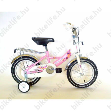"""Hauser Swan 14""""-os gyerekkerékpár kontrás, fehér/rózsaszín"""