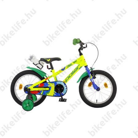 """POLAR Junior 14""""-os gyerekkerékpár kontrás, dino design, kulaccsal, sárga"""