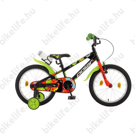 """POLAR Junior 18""""-os gyerekkerékpár kontrás, dino design, kulaccsal, fekete/zöld"""