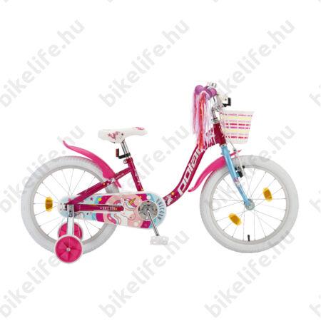 """POLAR Junior 18""""-os gyerekkerékpár kontrás, unicorn design, kosárral, sötét rózsaszín"""