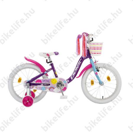 "POLAR Junior 18""-os gyerekkerékpár kontrás, spring design, kosárral, lila"
