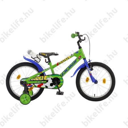 """POLAR Junior 18""""-os gyerekkerékpár kontrás, football design, kulaccsal, zöld"""
