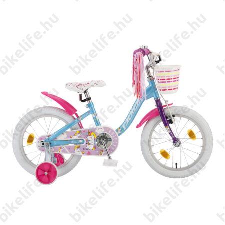 """POLAR Junior 16""""-os gyerekkerékpár kontrás unicorn baby design, első kosárral"""