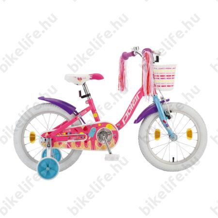 """POLAR Junior 16""""-os gyerekkerékpár kontrás icecream design, első kosárral, rózsaszín"""