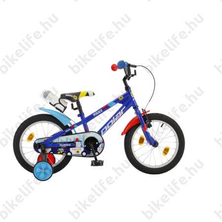 """POLAR Junior 16""""-os gyerekkerékpár kontrás police design, kulaccsal, kék"""