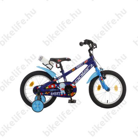"""POLAR Junior 16""""-os gyerekkerékpár kontrás rocket design, kulaccsal, kék"""