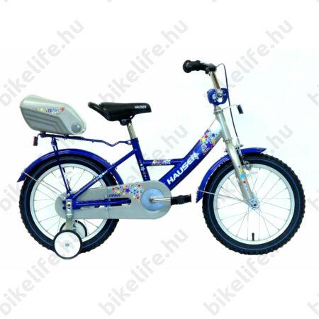 """Hauser Swan 16""""-os gyerek kerékpár kontrafékes, ezüst/kék színrefújt sárvédők+doboz"""