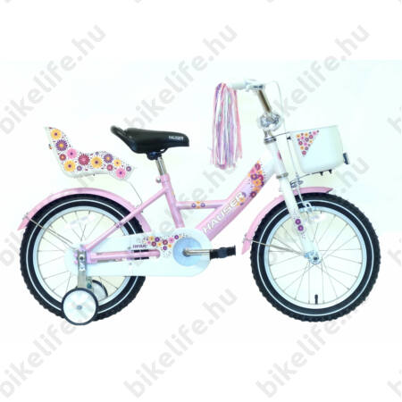 """Hauser Swan 16""""-os gyerek kerékpár kontrafékes, fehér/rózsaszín színrefújt sárvédők babahordóval és kosárral"""