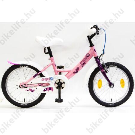 """Csepel Lily 16""""-os lányka gyerek kerékpár rózsaszín, lila szivecskékkel, kontrafékes"""