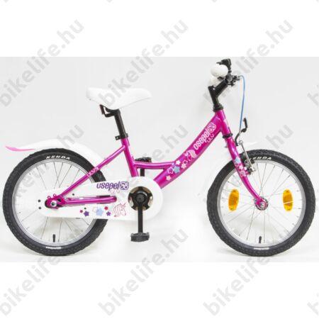 """Csepel Lily 16""""-os lányka gyerek kerékpár ciklámen, unikornis, kontrafékes"""
