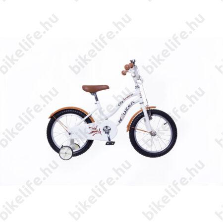 """Neuzer Cruiser 16""""-os gyerek kerékpár, lányka, kontrás, fehér"""