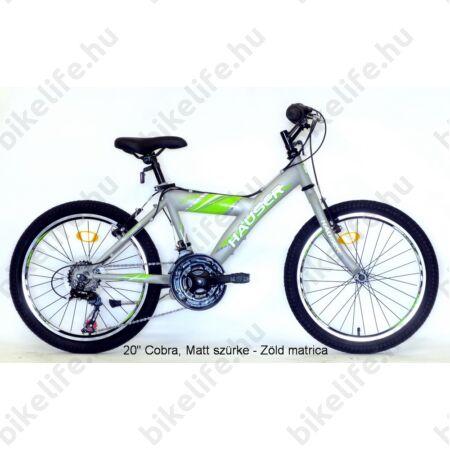 """Hauser Cobra 20""""-os gyerekkerékpár, fiú, Shimano Revoshift 18 seb. váltórendszer, mattezüst/zöld"""