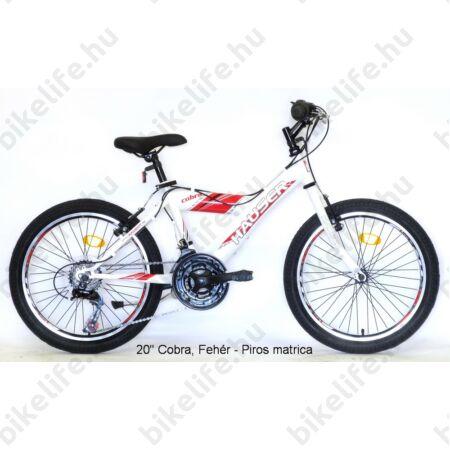 "Hauser Cobra 20""-os gyerekkerékpár, fiú, Shimano Revoshift 18 seb. váltórendszer, fehér/piros"