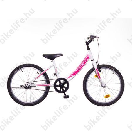 """Neuzer Cindy 20""""-os gyerek kerékpár, lányka, kontrás, fehér/pink, virágmintás"""