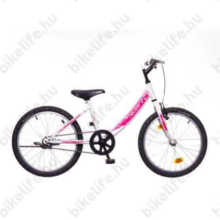 """Neuzer Cindy 20""""-os lányka gyerek kerékpár kontrás, fehér/pink virágmintás új dizájn"""