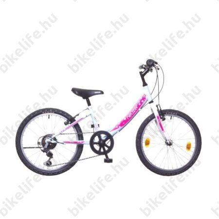 """Neuzer Cindy 20"""" lányka gyermek kerékpár, 6 fokozatú váltórendszer, fehér/pink új dizájn"""