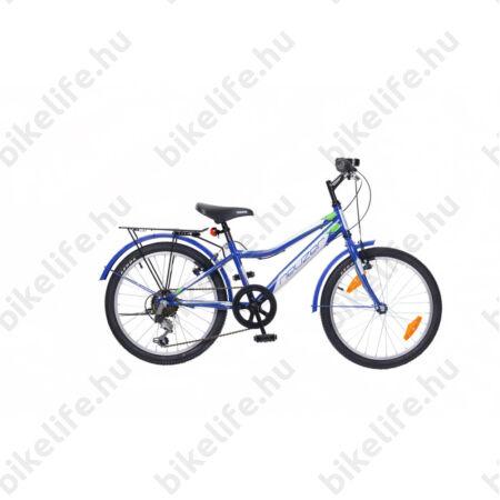 """Neuzer Bobby City 20""""-os gyerek kerékpár, fiú, 6 sebességes Shimano váltó, sárvédő, éjkék/fehér-zöld"""