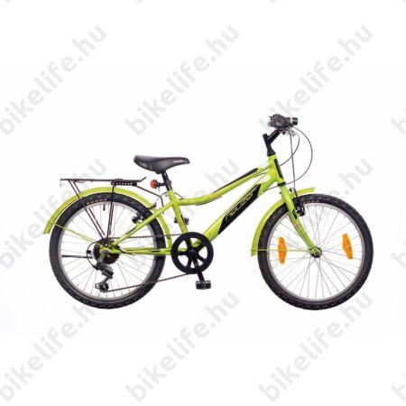 """Neuzer Bobby City 20""""-os gyerek kerékpár, fiú, 6 sebességes Shimano váltó, sárvédő, neonzöld/fek-feh"""