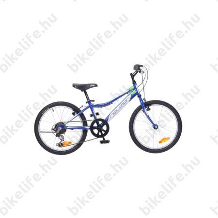 """Neuzer Bobby 20""""-os gyerek kerékpár, fiú, 6 sebességes Shimano váltó, királykék/fehér-zöld matrica"""