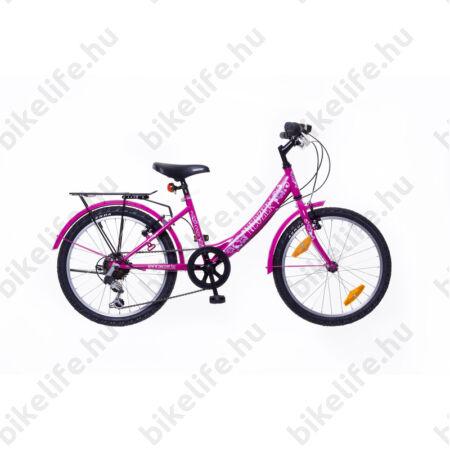 """Neuzer Cindy City 20""""-os gyerekkerékpár, 6 sebességes, lányka, pink/pink, virágmintás"""