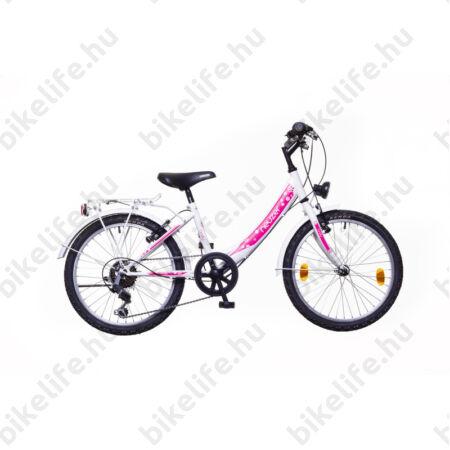 """Neuzer Cindy City 20""""-os gyerekkerékpár, 6 sebességes, lányka, fehér/pink, virágmintás új dizájn"""