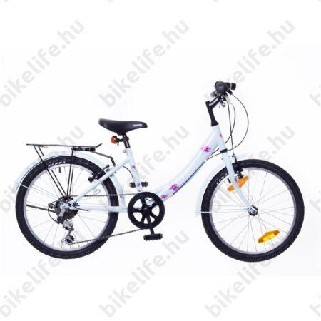 """Neuzer Cindy City 20""""-os gyerekkerékpár, 6 sebességes, lányka, babakék, virágmintás"""