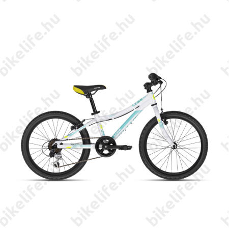 """Kellys Lumi 30 White 20""""-os gyerekkerékpár aluminium váz, 6 fokozatú Shimano TY21 váltó"""