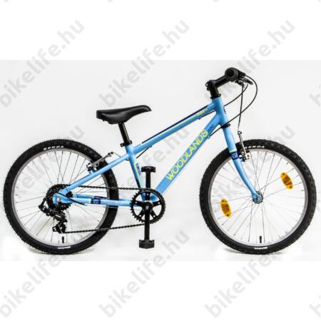 """Csepel Woodlands 20""""-os gyerek kerékpár alumínium vázzal, 6 fokozatú Shimano váltó, matt kék"""