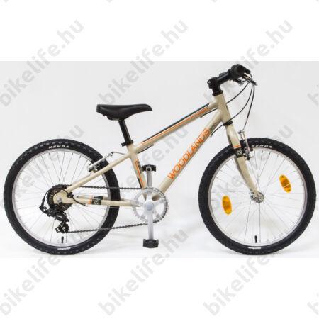 """Csepel Woodlands 20""""-os gyerek kerékpár alumínium vázzal, 6 fokozatú Shimano váltó, homok"""