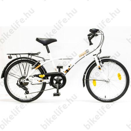 """Csepel Mustang 20"""" fiú gyermek kerékpár, 6 fokozatú váltó, fehér/narancs"""