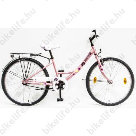 """Csepel Hawaii 24""""-os gyerek kerékpár, lány, kontrafékes, rózsaszín, csiga mintás"""