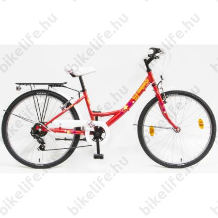 """Csepel Flora 24""""-os gyerek kerékpár, lány, 6 seb. Shimano váltó, piros, pillangós"""