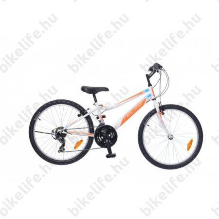 """Neuzer Bobby 24""""-os gyerek kerékpár, fiú, 18 seb. Shimano váltó, fehér/narancs-kék matrica"""