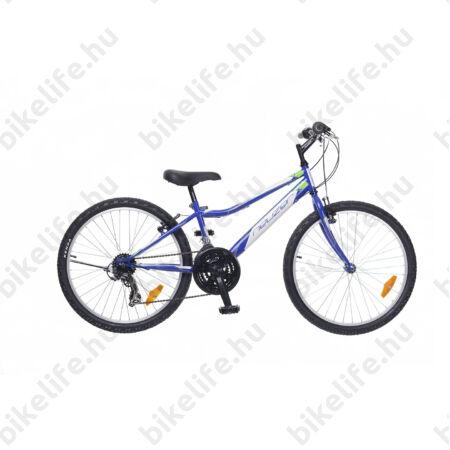 """Neuzer Bobby 24""""-os gyerek kerékpár, fiú, 18 seb. Shimano váltó, királykék/fehér-zöld matrica"""