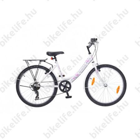 """Neuzer Cindy City 24""""-os gyermek kerékpár, lány, 6 sebességes, fehér/rózsaszín"""