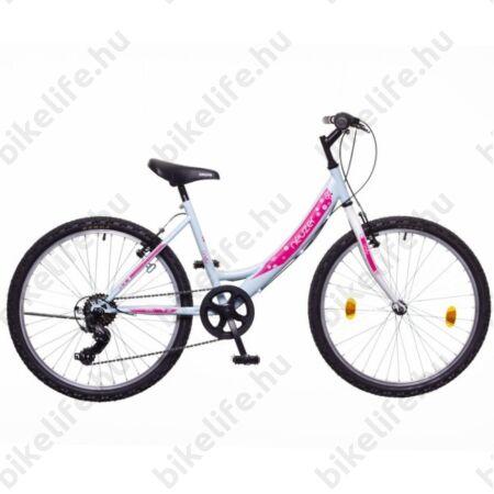 """Neuzer Cindy 24""""-os gyerek kerékpár, lány, 6 seb. Shimano váltó, babakék/pink"""