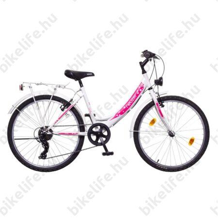 """Neuzer Cindy City 24""""-os gyermek kerékpár lány, 6 sebességes, fehér/pink új design"""